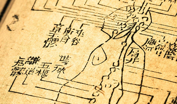 Chinese characters in an old book about the human body