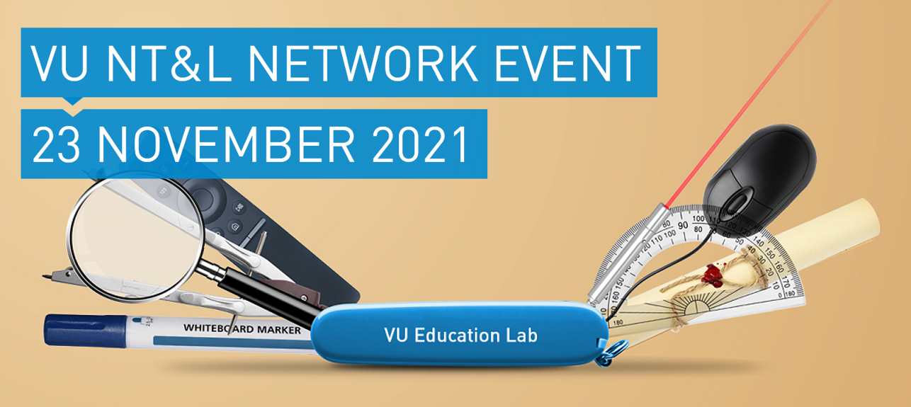 VU Education Lab pocket knife with educational supplies and text: VU NT&L Network Event 23 November 2021v2