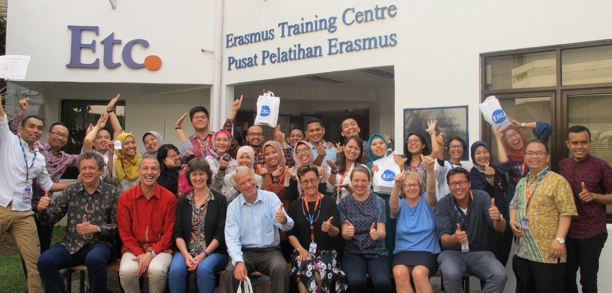 A group of Predoctoral students in front of the Erasmus Training Centre