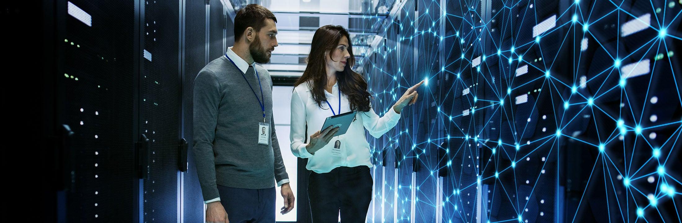 collega's die via technologie datapunten bekijken