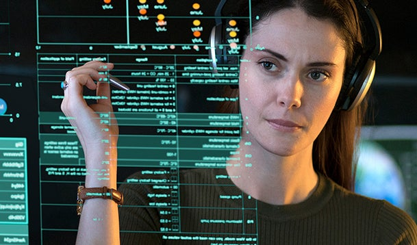 Woman making calculations