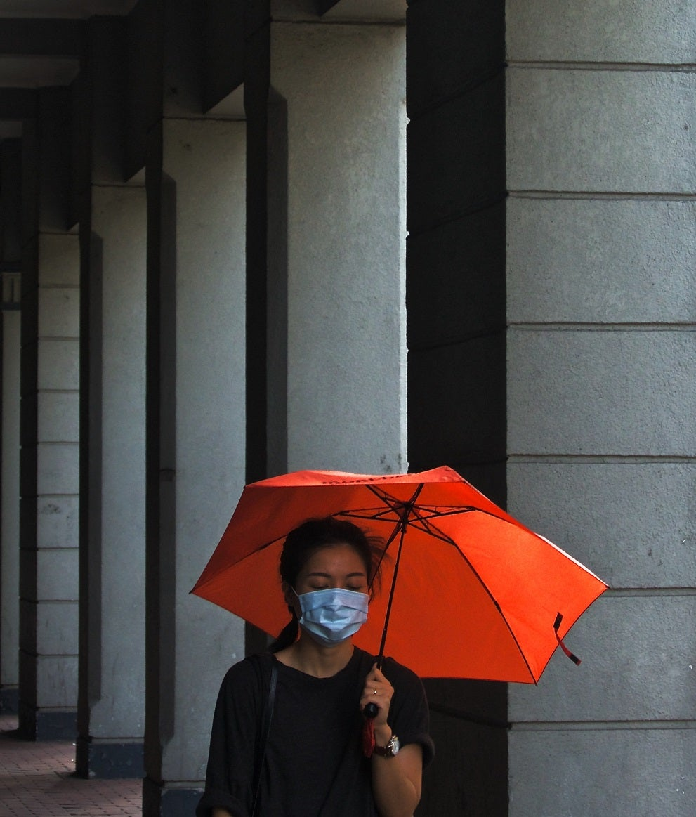 woman with mask and umbrella during covid pandamic