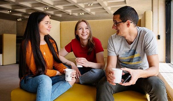 Three students taking a break