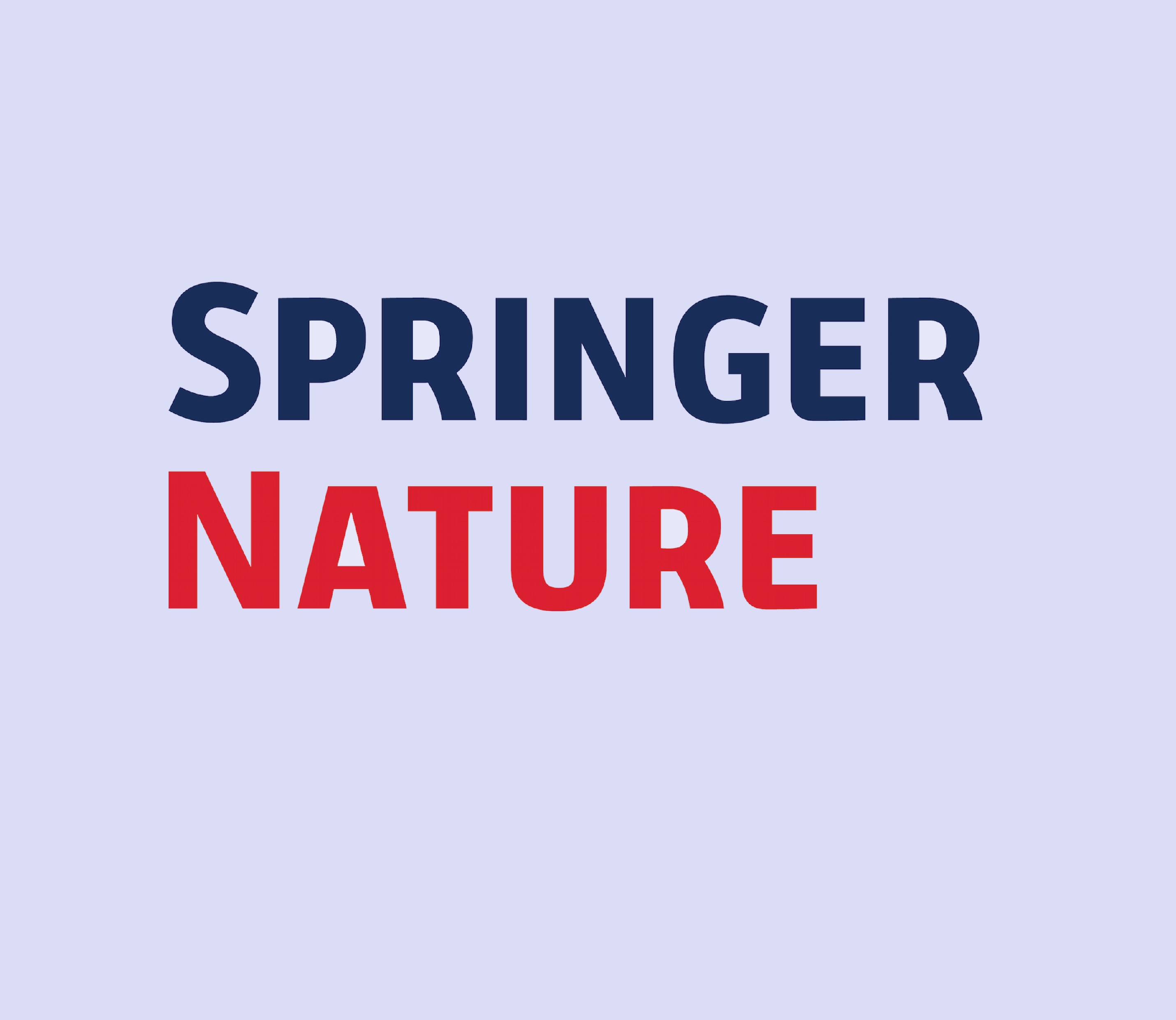 Logo with the text Springer (blue) and Nature (Red) against a light purple background